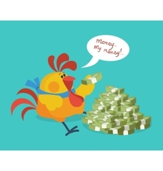 Rooster bird counts money cock rich businessman vector