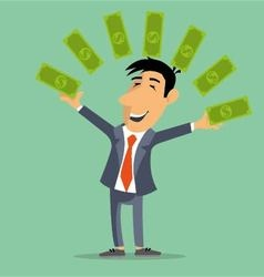 Person juggles money banknotes vector