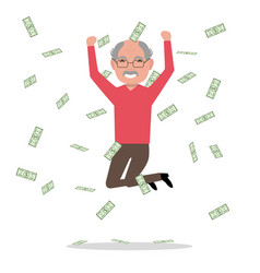 Cartoon grandfather jump falling money vector