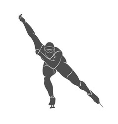 Silhouette speed skaters vector