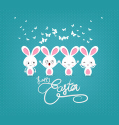 happy easter with bunny funny vector image