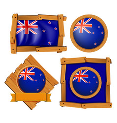 New zealand flag on round and square badges vector