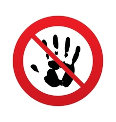 No hand print sign icon stop symbol vector