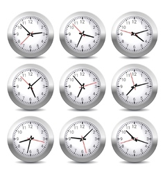 Wall clock set on white background vector
