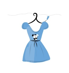 Dress on hangers with funny bear design vector