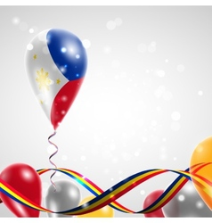 The flag of the philippines on balloon vector