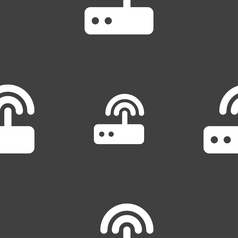 Wi fi router icon sign seamless pattern on a gray vector