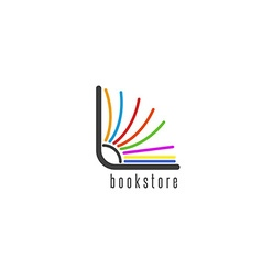 Mockup book logo flipping colored pages of the vector