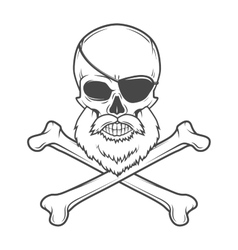 Pirate skull with beard eye patch and crossed vector