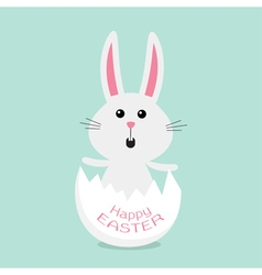 Happy Easter Cuteunny rabbit and egg shell Flat vector image