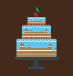 Card with a big chocolate cream layered cake vector