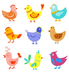 Fun doodle birds and cocks vector