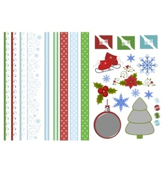Collection of christmas scrapbook decors vector image