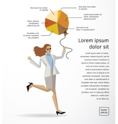 Business woman info graphics diagram flat vector