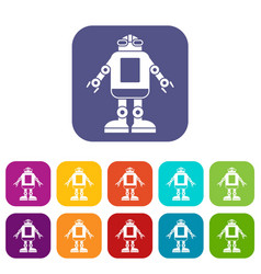 Automation machine robot icons set flat vector