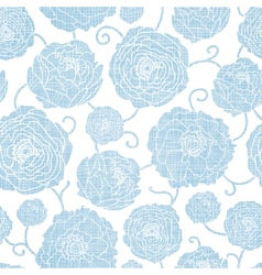 Blue textile peony flowers seamless pattern vector