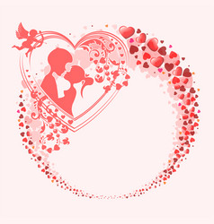 boy and girl in a wreath of red hearts vector image vector image