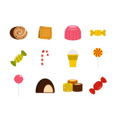 candy icon set flat style vector image