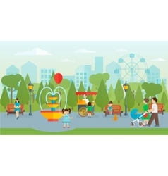 City park with people flat design vector