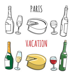 Coloring page with popular french food vector
