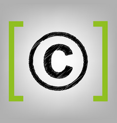 Copyright sign black vector