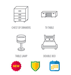 Double bed table lamp and tv table icons vector