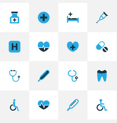 Drug colorful icons set collection of heartbeat vector