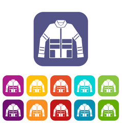 Firefighter jacket icons set vector