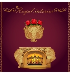 Fireplace decorated lions figures vector