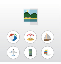 Flat icon summer set of aircraft parasol surfing vector