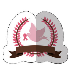 Fuchsia symbol dove with breast cancer ribbon vector
