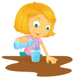 Girl pouring water in glass vector image