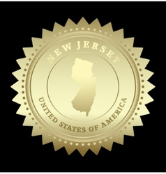Gold star label new jersey vector