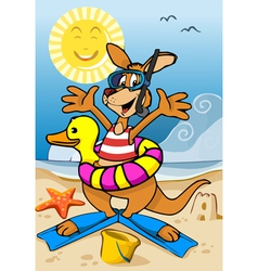 Happy Kangaroo Cartoon on the Beach vector image