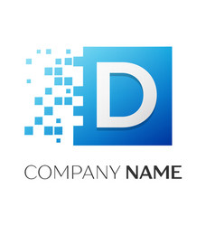 Letter d logo symbol in the colorful square with vector