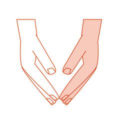 orange silhouette shading cartoon human hands down vector image