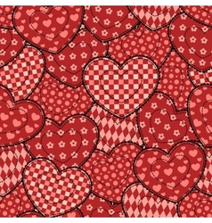 Patchwork hearts seamless beautiful pattern vector