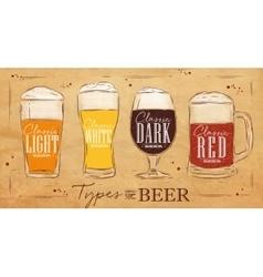 Poster types beer kraft vector image vector image