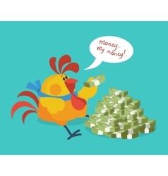 Rooster bird counts money cock rich businessman vector