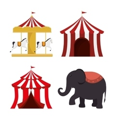 Set circus elements festival entertainment vector