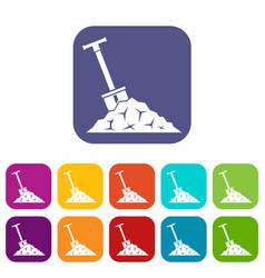 Shovel in coal icons set vector