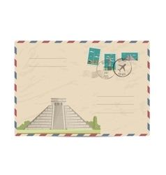 Vintage postal envelope with stamps vector