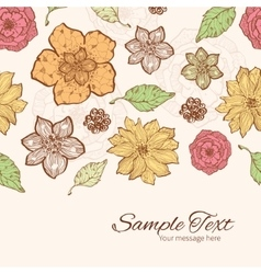 Warm fall lineart flowers horizontal border vector