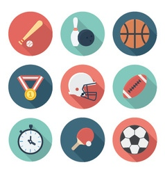 Sports and athletes gear flat icons set vector