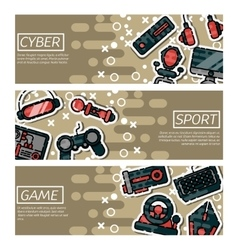 Set of horizontal banners about cybersport vector