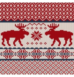 Knitted background with christmas deers and vector