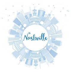 outline nashville skyline with blue buildings vector image