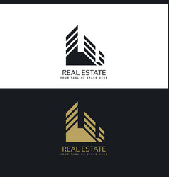 Real estate logo design in minimal style vector