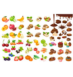 Colorful sweet and organic food set vector