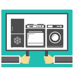 Hands poster and home appliances vector